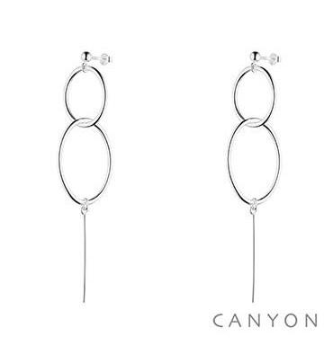 Boucles d'oreilles tiges 2 anneaux, une tige-CANYON. E-Shop bijoux-totem.fr
