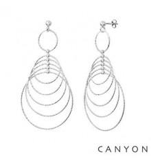 Boucles d'oreilles tiges 5 cercles pendants en dégradés-CANYON. E-Shop bijoux-totem.fr