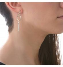 Boucles d'oreilles tiges 2 cercles et un pompon-CANYON. E-Shop bijoux-totem.fr