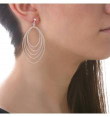 Boucles d'oreilles tiges 5 ovales diamantés en dégradé-CANYON. E-Shop bijoux-totem.fr