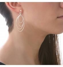 Boucles d'oreilles tiges 4 ovales diamantés en dégradé-CANYON. E-Shop bijoux-totem.fr