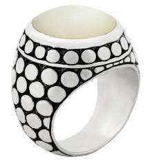 Bague nacre blanche-JALAN JALAN. E-Shop bijoux-totem.fr