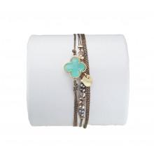 loetma-clover-bracelet-multi liens-réglable-aqua-bijoux-totem.fr