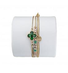 loetma-clover-bracelet-multi liens-réglable-émeraude-bijoux-totem.fr