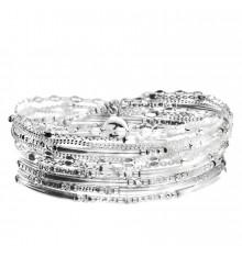 DORIANE-Argent 925-bracelet-élastique-5 tours-bijoux totem.